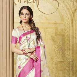 Off White Art Silk Woven Saree