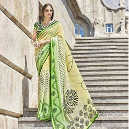 Warm Beige Faux Georgette Printed Saree