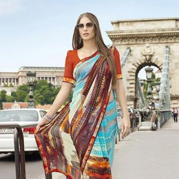 Vivacious Faux Georgette Traditional Printed Saree