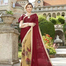 Georgette Chiffon Saree In Beige