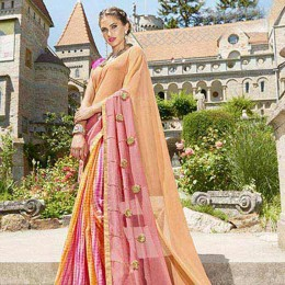 Multi Colored Georgette N Chiffon Printed Saree
