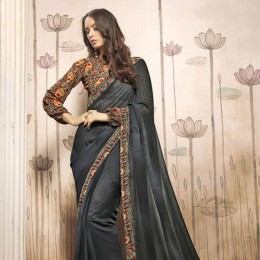 Printed Grey Casual Wear Saree