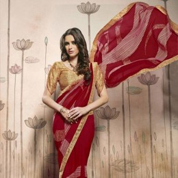 Red and Beige Casual Printed Saree