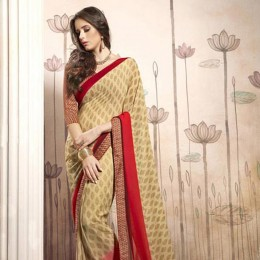Beige Georgette Casual Saree with Multicoloured Blouse