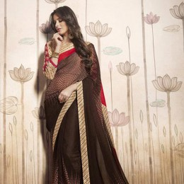 Printed Brown and Beige Casual Saree