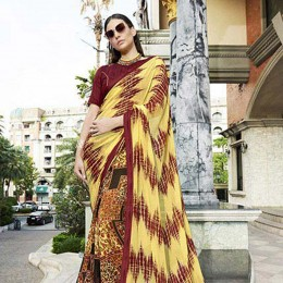 Yellow Colored Printed Saree