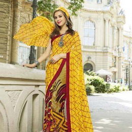 Beautiful Multi Colored Faux Georgette Traditional Printed Saree