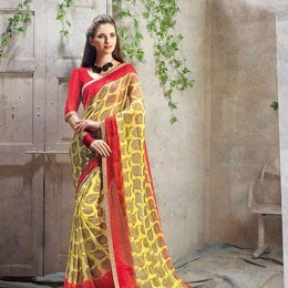 Traditional Print Yellow Faux Georgette Saree