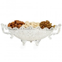 Designer Silver Dry Fruits Tray