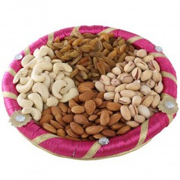 Pink Dry Fruits Round Tray