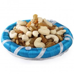Blue Dry Fruits Round Tray