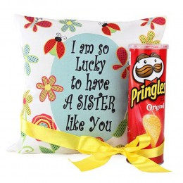Cushion and Pringles For Sister