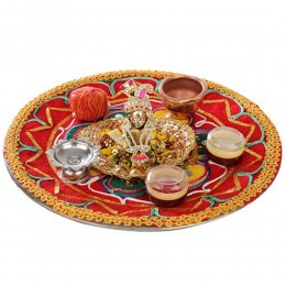 Bal Krishna With Puja Thali