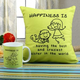 Happiness Mug N Cushion Combo