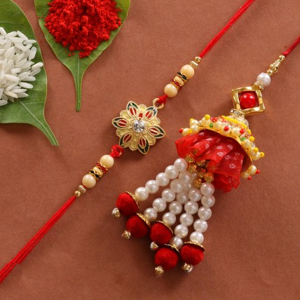 Lumba Colorful Flower Shape Rakhi Combo