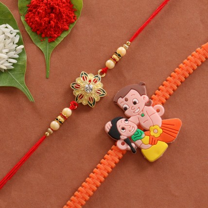 Combo of Cartoon Floral Designer Rakhi