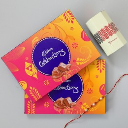 2 Cadbury Celebrations & Pearl Rakhi Combo