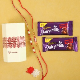 Fancy Rakhis & Cadbury Fruit N Nut Combo