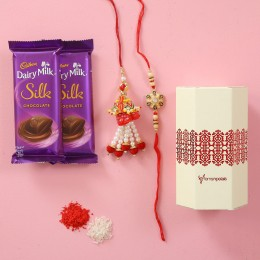 Silk Chocolates With Designer Rakhi Combo