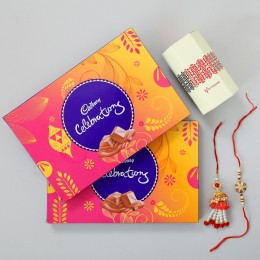 Gorgeous Rakhi Pair & Two Celebrations Box