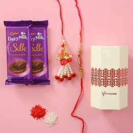 Designer Rakhi Pair With Silk Chocolates