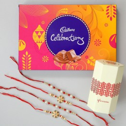 4 Designer Rakhis & Celebrations Chocolate