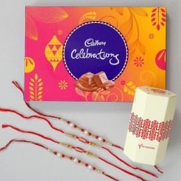 Celebrations Chocolate & 4 Designer Rakhis