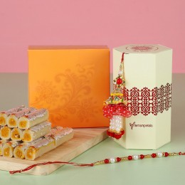 Pearl Lumba Rakhi Set With Kaju Rolls