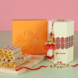 Ethnic Lumba Rakhi Set With Kaju Rolls