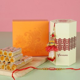 Lumba Ethnic Rakhi Set With Kaju Rolls