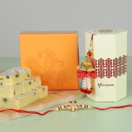 Ethnic Lumba Rakhi Set With Pista Burfi