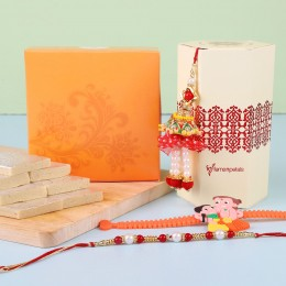 Set Of 3 Rakhis Kaju Katli