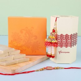 Ethnic Lumba Rakhi Set With Kaju Katli