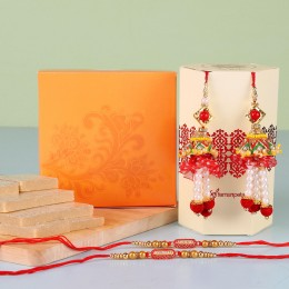 Ethnic Lumba Rakhis With Kaju Katli