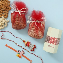Pearl Lumba Rakhi Set With Dry Fruits