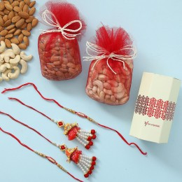 Ethnic Lumba Rakhis With Dry Fruits