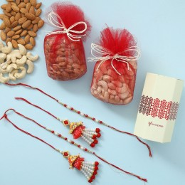 Pearl Lumba Rakhis With Dry Fruits