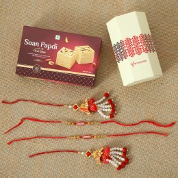 Ethnic Lumba Rakhis With Soan Papdi