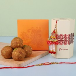 Ethnic Lumba Rakhi Set With Besan Laddu