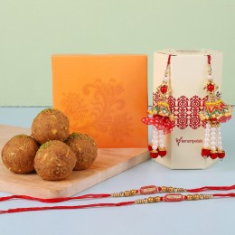 Ethnic Lumba Rakhis With Besan Laddu