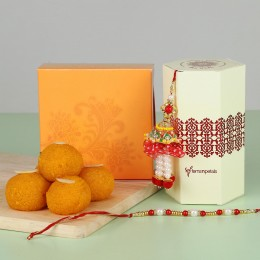 Pearl Lumba Rakhi With Moti Choor Laddu