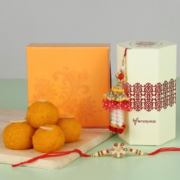 Ethnic Lumba Rakhi With Moti Choor Laddu