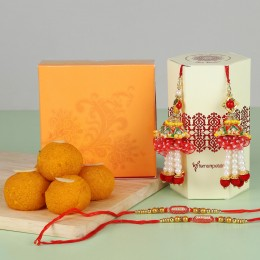 Ethnic Lumba Rakhis With Moti Choor Laddu