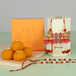 Pearl Lumba Rakhis With Moti Choor Laddu