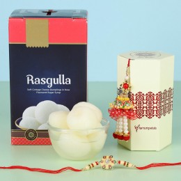Ethnic Lumba Rakhi With Rasgulla