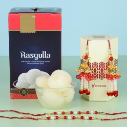 Rasgulla With Pearl Lumba Rakhi Set