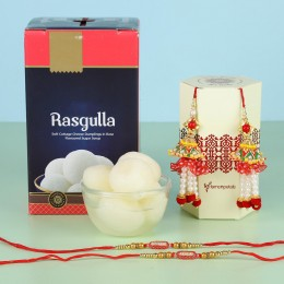 Rasgulla With Ethnic Lumba Rakhi Set