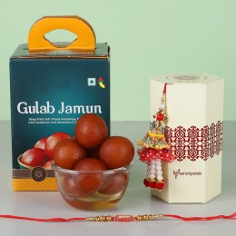Ethnic Lumba Rakhi Set With Gulab Jamun