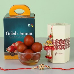Lumba Ethnic Rakhi Set With Gulab Jamun