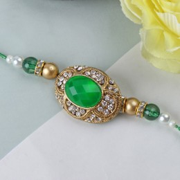 Green Emerald Stone Rakhi